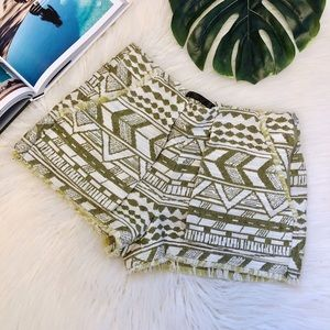 Zara | Aztec Print Side Zip Fringe Shorts